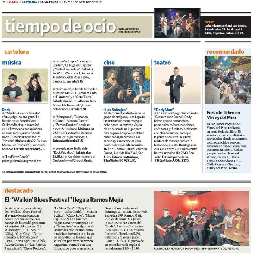 """* El """"Walkin´ Blues Festival"""" llega a Ramos Mejía - (Diario Clarín)"""